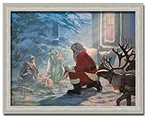 Santa Claus Nativity Jesus Christmas Gift Print Framed Art Picture Wall Décor