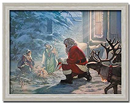 amazoncom santa claus nativity jesus christmas gift print framed art picture wall dcor santa kneeling posters prints