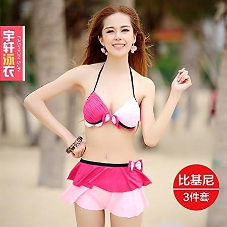 ZHANGYONG * Bikini 3 Traje de Split Falda Sexy pequeño Pecho Acero ...