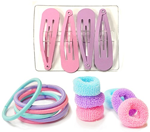 Beaute Galleria - Bundle 16ct Kids Hair Accessories: 6ct Tiny Terry Ponytail Hair Bobble Holder, 6ct Non Slip Elastic Hair Ties Bands, 4ct Snap Hair Clips Barrettes in Unicorn Colors w Elephant Case