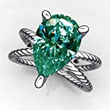 RINGJEWEL 1.05 ct VVS1 Pear Moissanite Solitaire Engagement Silver Plated Ring Blue Green Color Size 7