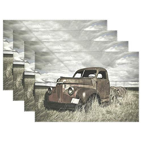 Promini Heat-Resistant Placemats, Old Farm Truck Washable Polyester Table Mats Non Slip Washable Placemats for Kitchen Dining Room Set of 4