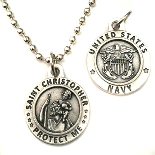 Christopher Italian Charm (Saint St Christopher United States US Navy Protection Military Protect Us Medal Pendant Charm Necklace Catholic Made in Italy Silver Tone 3/4)