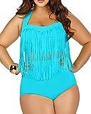 Spring fever for Women Plus Size Retro High Waist Braided Fringe Top Bikini Swimwear(Sky Blue,3XL)