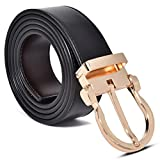 Mark Fred 100% Real Leather Cut-to-Fit Reversible Men's Dress Belt, Black Brown