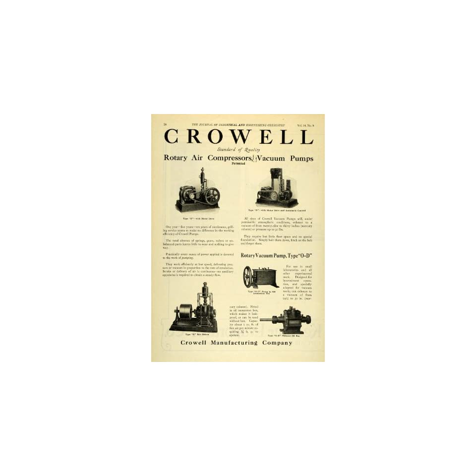 1922 Ad Crowell Rotary Air Compressors Vacuum Pumps Scientific Engineering   Original Print Ad
