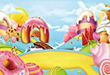 Laeacco Cartoon Candy Paradise Backdrop 8x6.5ft Vinyl Pastel Creamy Cabin Lollipops Donut Arch Door Chocolate Path Biscuit Sun Blue Sky Photography Background Baby Birthday Party Banner Cake Smash