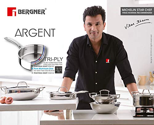 BERGNER-Argent-Triply-Stainless-Steel-Sautepan-with-Stainless-Steel-Lid-22-cm-18-Litres-Induction-Base-Silver