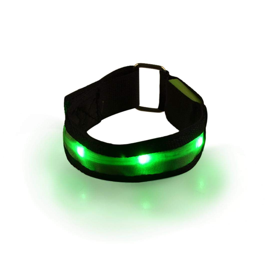 Glumes LED Armband, Glow in the Dark Led Slap Bracelets Event Wristband For Men& Women, Night Safety Lights For Running, Jogging, Cycling, Hiking (Green)