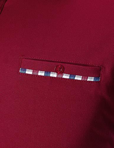 Algodón Casual Mangas Sttlzmc Largas Hombre Polo Rojo Clásico Deporte  Cuello Camisetas Plaid q01aqUx 5715efbd924d7