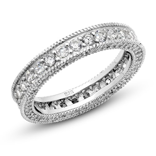 Sz 4 Sterling Silver 925 Cubic Zirconia CZ Vintage Milgrain Eternity Band Ring ()