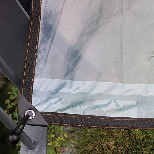 AITREASURE 6.5ft×10ft Tarpaulin Transparent Waterproof Clear Tarps with Grommets 12 Pieces Ball Bungee Cords 6 Inch for Plants Greenhouse, Pet Hutch Roof