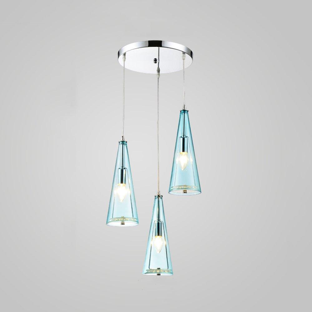 CGJDZMD Modern E14 3-Light Glass Pendant Lights Fixture Northern Europe Adjustable Crystal LED Ceiling Hanging Lamp Cafe Restaurant Living Room Chandelier (Color : Blue, Size : Disc)