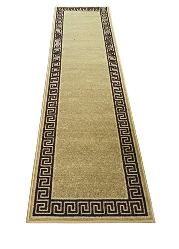 Meander Design Printed Slip Resistant Rubber Back Latex Runner Rug Color Options Available (Beige, 23''x7') by RugStylesOnline