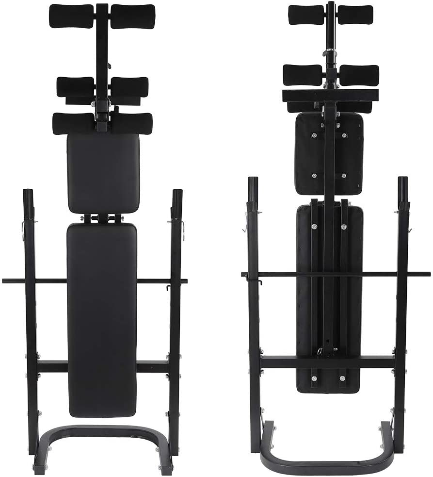 US in Stock Adjustable Weight Bench with Rack,Folding Dumbbell Barbell Lifting Press Bed Equipment Incline Weightlifting Bench Rack Set for Home Gym
