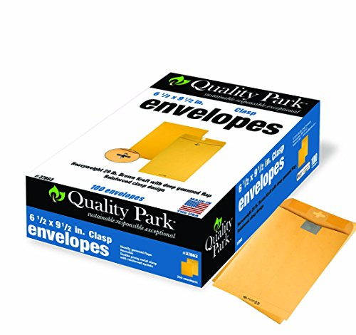 (Quality Park Clasp Envelopes, 6.5 x 9.5 - Inch, Brown Kraft,  Box of 100 (37863) ,Packaging may vary.)