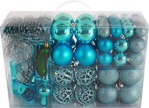 BRUBAKER 102 Pack Assorted Christmas Ball Ornaments - Shatterproof - with Green Pickle and Tree Topper - Designed in Germany - Turquoise (Decorations Christmas Turquoise Tree)