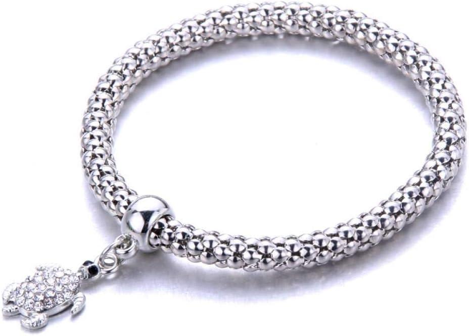 DMUEZW Moda de la Calle Temperamento Simple Color de Plata Cadena elástica de Palomitas de maíz Cadena de la Serpiente Cruz Colgante de Cristal Pulsera de Las Mujeres