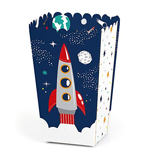 Outer Space Themed Snacks (Blast Off to Outer Space - Rocket Ship Baby Shower or Birthday Party Favor Popcorn Treat Boxes - Set of)