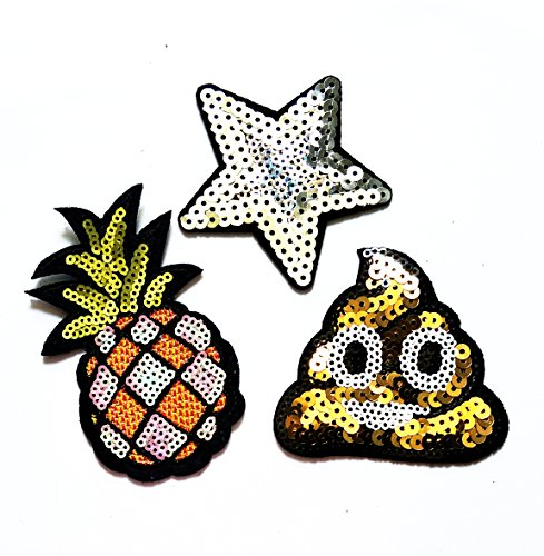 Nipitshop Patches Set of 3 fantasy Sequins Star Patch Pineapple Fruit Patch Shit Smile Happy Face Eye Eyeball Iron On Appliques Embroidered Patch for Clothes Costume or (Fantasy Costumes Australia)