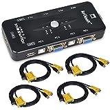 ieGeek Switch KVM Box Caja Conmutador 4 Puertos de USB-A 4 Conectores de USB-B 4 Entradas de VGA y cada dos Cable de Tipo-A Tipo-B y VGA de Calidad Alta Para Monitor de PC, Teclado, Control de Ratón, Impresora, Escáner y mucho más, Negro