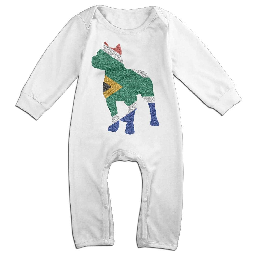 Mri-le1 Baby Boy Girl Jumpsuit Patriotic Pitbull South African Flag Toddler Jumpsuit