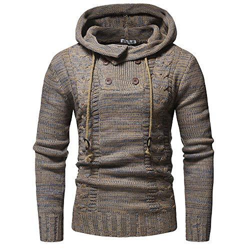 Sunhusing Men's Casual Button-Down Twist Pattern Knit Hooded Pullover Sweater Casual Knitwear Jacket Outwear