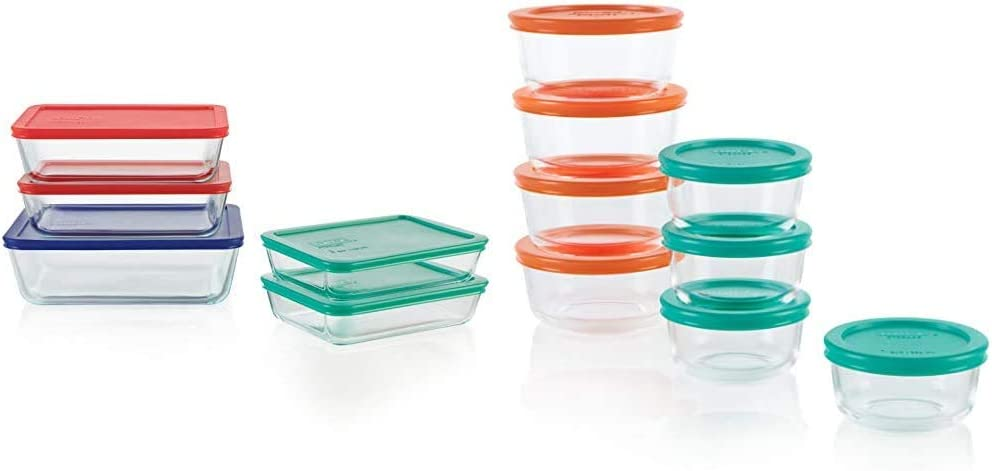 Pyrex Simply Store Meal Prep Glass Food Storage Containers (10-Piece Set, BPA Free Lids, Oven Safe) & Simply Store Meal Prep Glass Food Storage Containers (16-Piece Set, BPA Free Lids, Oven Safe)