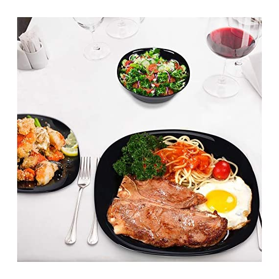 DANMERS 18-Piece Dinnerware Set Black Kitchen Dinner Set Service for 4, Square Glass Plates Bowls Set Crack Resistant - 🍝【12 PCS SQUARE DINNER SET】Service for 4. Includes four 11'' dinner plate, four 8'' bread & butter plates and four 6'' rice/cereal bowls. ✅【BREAK & CRACK RESISTANCE】Our dinnerwares are made of STRONG GLASS, lightweight yet durable. No scratch left even rigid handling. More importantly, Safe for kids to use. . 👍【HARMLESS and GREEN】Lead free, non-fading. Dishwasher, Microwave and Disinfection cabinet safe. Stain Resistance, say goodbye to germs and stains. - kitchen-tabletop, kitchen-dining-room, dinnerware-sets - 51yUC1fG2nL. SS570  -