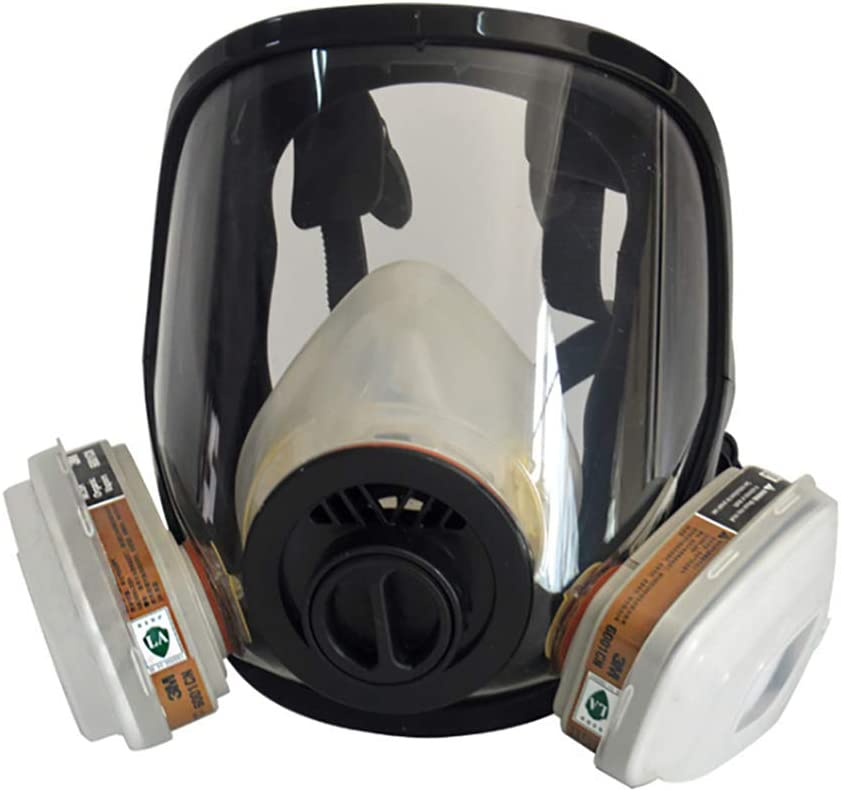 WFBP Cara Completa Silicona Filtro Paintball Militar Táctico De Transpiración Máscara De Protección Facial con Ventilador para Gases Orgánicos Y Vapor