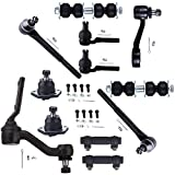 SCITOO 12pcs Suspension Kit 2 Outer Tie Rod 2 Inner Tie Rod 2 Front Sway Bar 1 Idler Arm 1 Pitman Arm 2 Adjusting Sleeve 2 Front Ball Joint Compatible fit 99 00 01 Oldsmobile Bravada 4WD