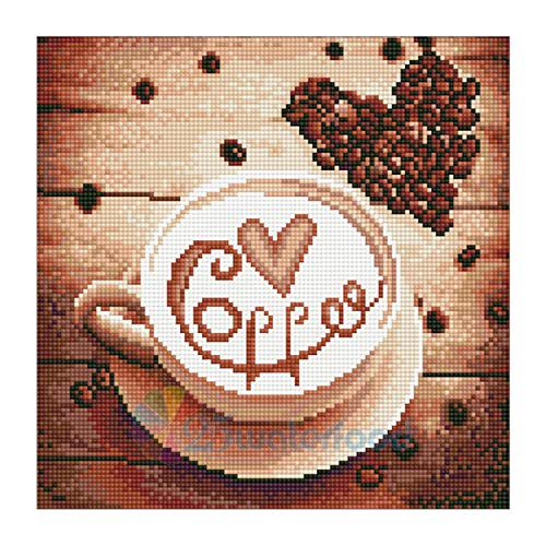 (MXJSUA DIY 5D Diamond Painting by Number Kits Full Round Drill Rhinestone Cross Stitch Picture Craft for Home Wall Decor 12x12In Love Coffee )
