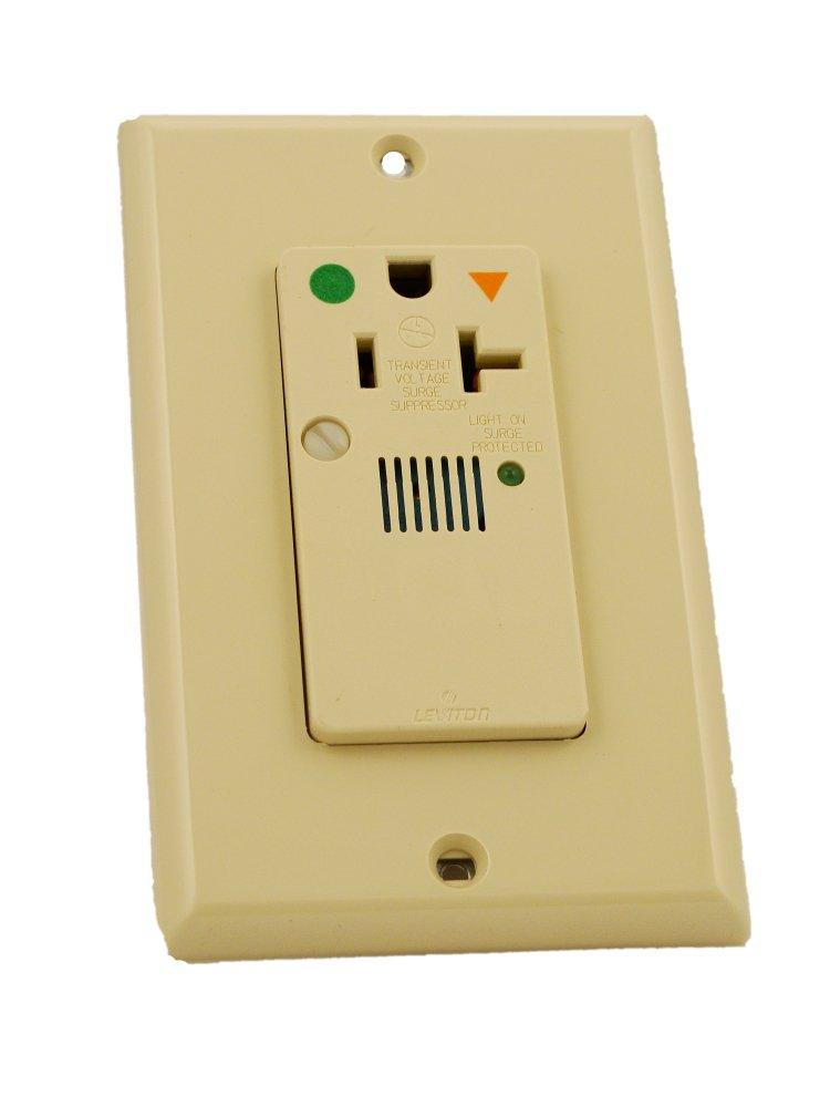Leviton 8381-IGI 20 Amp, 125 Volt, Decora Plus Single Receptacle, Straight Blade, Hospital Grade, Isolated Ground, Surge with Indicator Light, Ivory