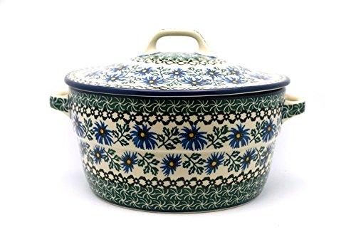 (Polish Pottery Baker - Round Covered Casserole - Blue)