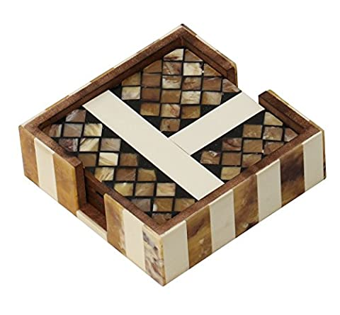 Wood Coaster Set of 4 with Holder on SALE -