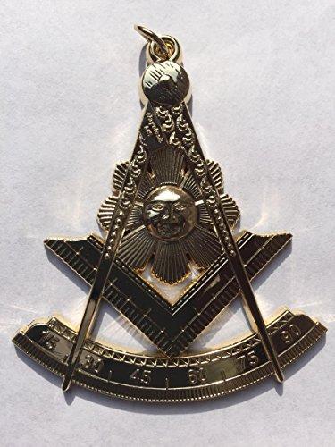 "Masonic Past Master Regalia Jewel 3"" Tall Golden Electroplated"