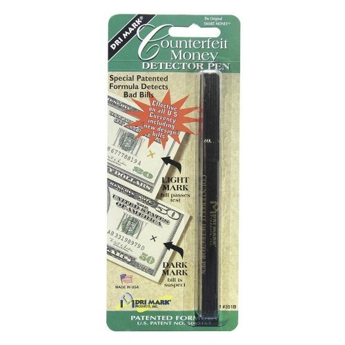 Dri-Mark Smart Money Counterfeit Bill Detector Pen for Use with U.S. Currency, Black/Dark Brown (351B1) by Drimark