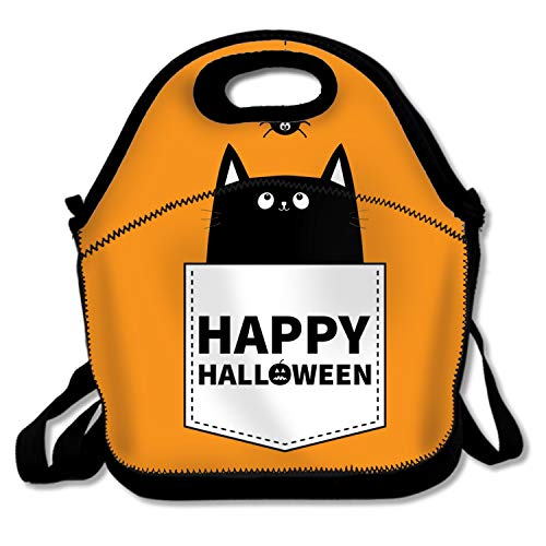 shunshunfeng Halloween Cat in Pocket Lunch Tote Bags Insulated Waterproof Lunch Box Food Picnic Bags for Men Women