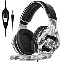 Sades SA-810 3.5mm Stereo Sound PC Gaming Headsets, Over Ear Gaming Headphones with Noise Isolation Microphone for PS4 / Xbox One / Computer / Phones (Camouflage )