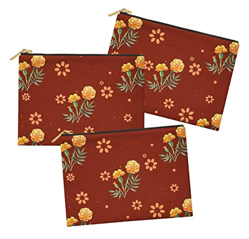 S4Sassy Red Marigold Floral Pack of 3 Printed Make Up Cosmetic Bag Coin Purse Toiletry Organizer-6 x 8 Inches ()