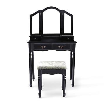 langria coiffeuse meuble maquillage 3 miroirs 4 tiroirs pieds rsistantes style victorien tabouret