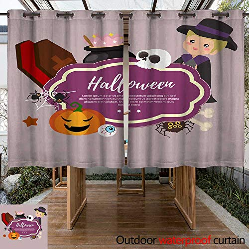 (RenteriaDecor Outdoor Curtain for Patio Cute Template Halloween with Costume boy W108 x)