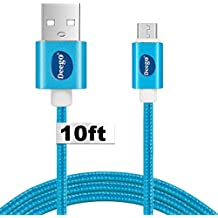 Micro USB cable[10ft], High Speed Nylon usb 2.0 charging cable cord, portable fast charge cable for Android device, LG, HTC M8 M9,Note 5/4/3, Samsung Galaxy S7/S6 Edge-Blue