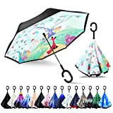 ZOMAKE Double Layer Inverted Umbrellas for Women, Reverse Folding Umbrella Windproof UV Protection Big Straight Umbrella for Car Rain Outdoor with C-Shaped Handle (Fox)