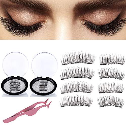 a4da258c749 Magnetic False Eyelashes,Reusable Full Size 3 Magnet Lashes Glue-Free 3D  Dual Magnetic