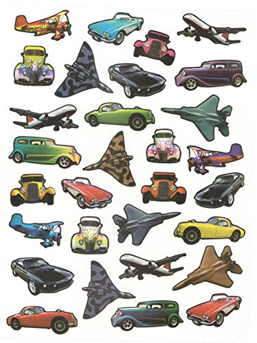 Photo Stickers ~ Classic and Modern Hot Rods, Speedsters, Airplanes and Fighter Jets (30 Stickers) (Rod Car Hot Craft)