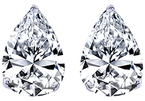 - White Cubic Zirconia Pear Shape Stud Earrings In 14K White Gold Over Sterling Silver (3 Ct)