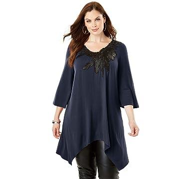 6a4f0d9f976 Roamans Women s Plus Size Applique Drape Super Tunic at Amazon ...