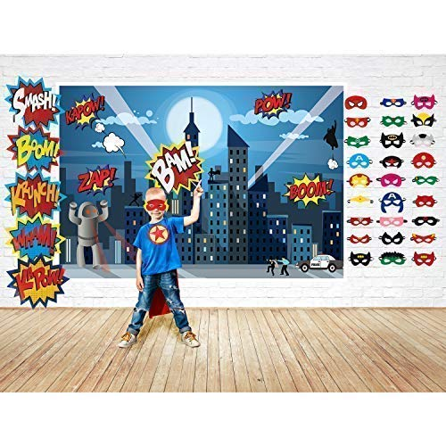 Superhero Party Supplies Kit with 7ft Superhero Backdrop, 28 Superhero Masks & 6 Superhero Photo Booth Props in a Comic Book Gift Box -
