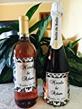 12 SILVER FOIL DAMASK Themed Champagne or Wine bottle labels/stickers/wrappers Personalized for WEDDING or party FAVORS, self adhesive and unique! by The Camera Depot
